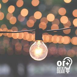 50ft Black String Lights, 60 G40 Globe Bulbs : Connectable,
