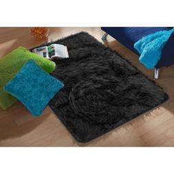 "your zone black tinsel fur rug, 2'6"" x 3'2"" . This Carpet Wi"