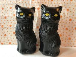 Blow Mold Halloween Black Cats Decoration Yellow Eyes Union