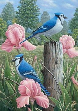 """Blue Jays Spring Garden Flag Welcome Floral 12.5"""" x 18"""""""