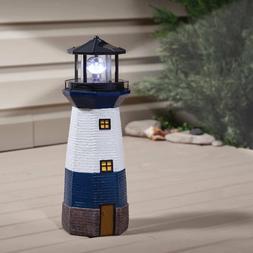 Blue Solar Lighthouse Statue Rotating Lamp Outdoor Light Yar