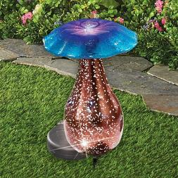 BLUE MUSHROOM MERCURY GLASS SOLAR LIGHTED  YARD STAKE  Garde
