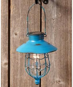 Blue Solar Lantern Light Yard Garden Pathway Porch Patio Dec