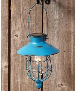 Blue Solar Lantern Light Yard Garden Pathway Porch Patio Dec