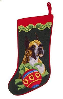 Boxer Needlepoint Christmas Stocking