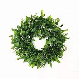 LaHomey 10-Inch Boxwood Wreath, Green Garland for Home Weddi