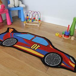 "Boy's Modern Racing Car Soft Durable Blue Floor Rug 2'7"" x 3"