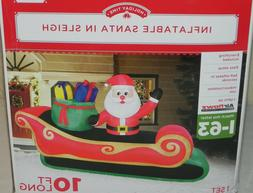 BRAND NEW - GEMMY 10FT SANTA IN SLEIGH  AIRBLOWN INFLATABLE