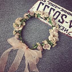 Meiliy Bridal Flower Garland Headband Flower Crown Hair Wrea