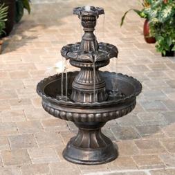 Bronze 3 Tier Outdoor Fountain Water Garden Patio Tall Yard