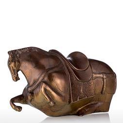 Tooarts Bronze Fat Horse Sculpture Exaggerative Design Coppe