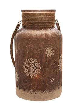 """Northlight 10"""" Brown Iced and Glittered Snowflake Decorative"""