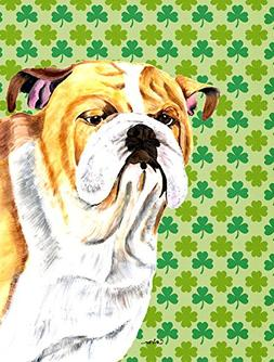 Bulldog English St. Patrick's Day Shamrock Portrait Flag Gar