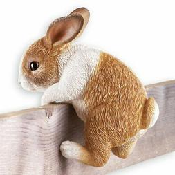 Collections Etc Bunny On A Fence Yard Decor Brown