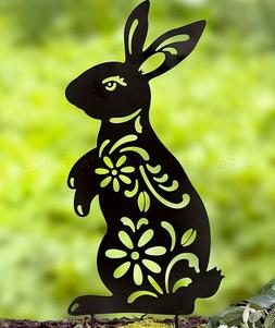 Bunny Rabbit Animal Silhouette Garden Stake Yard Art Lawn Ou