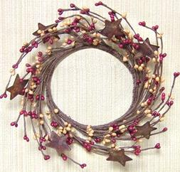 Burgundy & Old Gold Pip Berry Ring Wreath Rusty Stars Countr