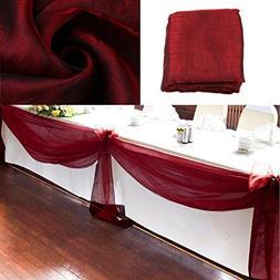 vLoveLife 33ft Burgundy Sheer Organza Top Table Swag Fabric