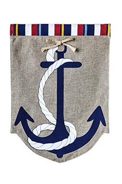Evergreen Burlap Anchors Away Garden Flag, 12.5 by 18 inches
