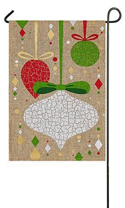 Evergreen Burlap Christmas Crackle Ornaments Garden Flag, 12