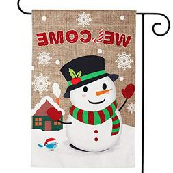 WATINC Burlap Welcome Garden Flag with Snowman for Christmas
