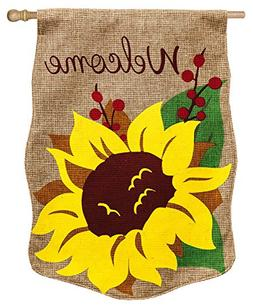 Evergreen Burlap Welcome Sunflower House Flag, 28 x 44 inche