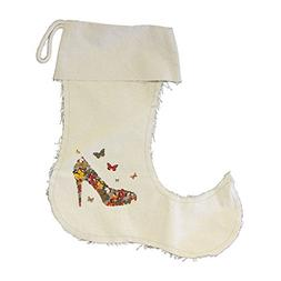 Butterflies - Shape Woman Shoe Vintage Canvas Stocking Jeste