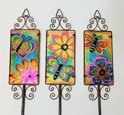 BUTTERFLY & FLOWER Set of 3 Glass / Metal Garden Stakes Yard