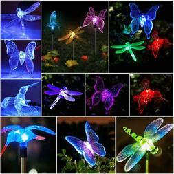 Butterfly Dragonfly Solar Power LED Light Outdoor Garden Yar