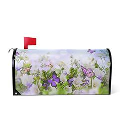 WOOR Butterfly Flying Flowers Garden Magnetic Mailbox Cover
