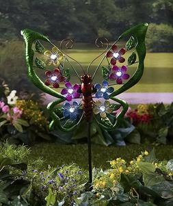 Butterfly Solar Light Garden Stake Yard Art Flowerbed Lawn O