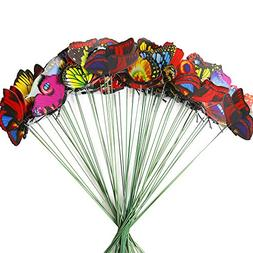 Teenitor Butterfly Stakes, 60pcs 7cm Garden Butterfly Stakes