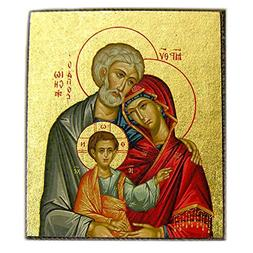 Byzantine Holy Family Serigraph Wooden Icon Bronze Gold Leaf
