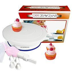 Cake Turntable Rotating Stand by Bakeware Pro with Bonus Fro