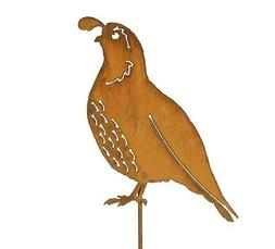 California Quail Garden Stake | Metal Quail Bird Art | Quail