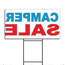 Camper Sale Blue Red Corrugated Plastic Yard Sign /Free Stak
