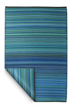 Fab Habitat Cancun Indoor/Outdoor Rug, Turquoise and Moss Gr