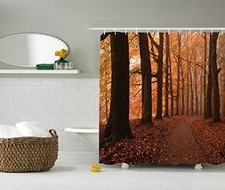Canopy Decor Shower Curtain by Ambesonne, Fall Season Hiking