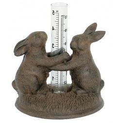 Cast Iron Dancing Bunny Rabbits Rain Gauge