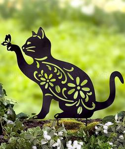Cat Animal Silhouette Garden Stake Yard Art Lawn Outdoor Hom