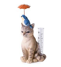 Wind & Weather Cat and Bird Rain Gauge - 4.33 L x 3.94 W x 9