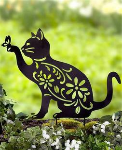CAT SILHOUETTE GARDEN YARD PORCH PLANTER STAKE OUTDOOR HOME