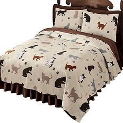 cat printed fleece coverlet