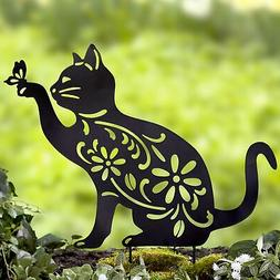 Cat Silhouette Stake for Yards, Gardens - Outdoor Shadow Dec