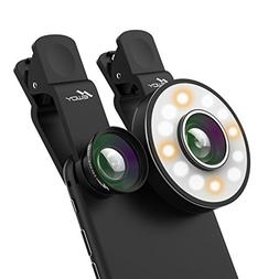 Cell Phone Camera Lens with LED Flashlight, Newdy 3 in 1 Cli