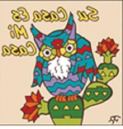 """6"""" x 6"""" Ceramic Designer Tile SU CASA ES MI CASA OWL SAND BA"""
