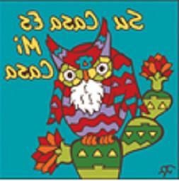 """6"""" x 6"""" Ceramic Designer Tile SU CASA ES MI CASA OWL TURQUOI"""