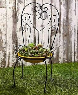 Chair Style Birdbath Bird Feeder Garden Yard Art Porch Patio