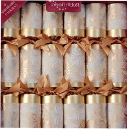 6 x Champagne Gold Robin Reed Christmas Crackers