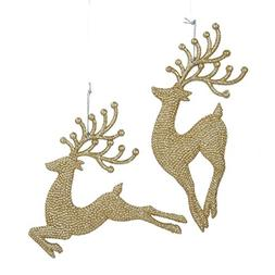 Kurt Adler Champagne/Gold Diamond Reindeer Ornament Pair
