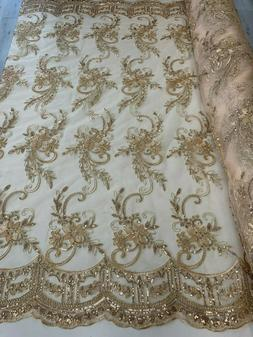 Champagne_Metallic Flowers/Floral Embroider Mesh Lace Fabric